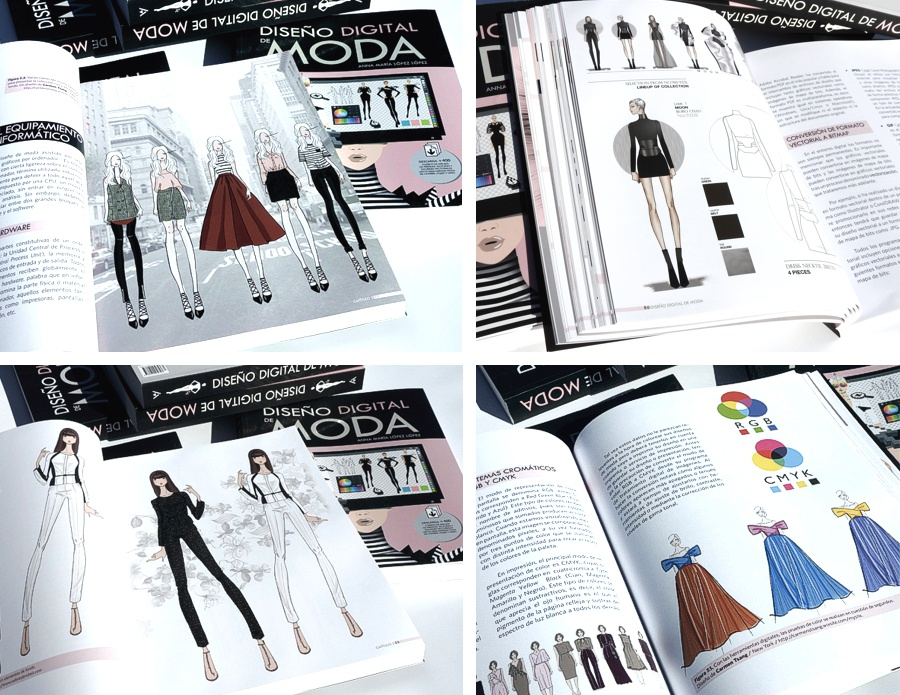 Book pages of the book DIGITAL FASHION DESIGN - DISENO DIGITAL DE MODA
